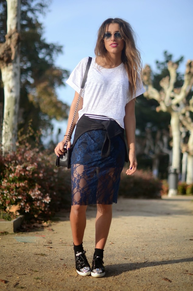 pencil skirt with trainers