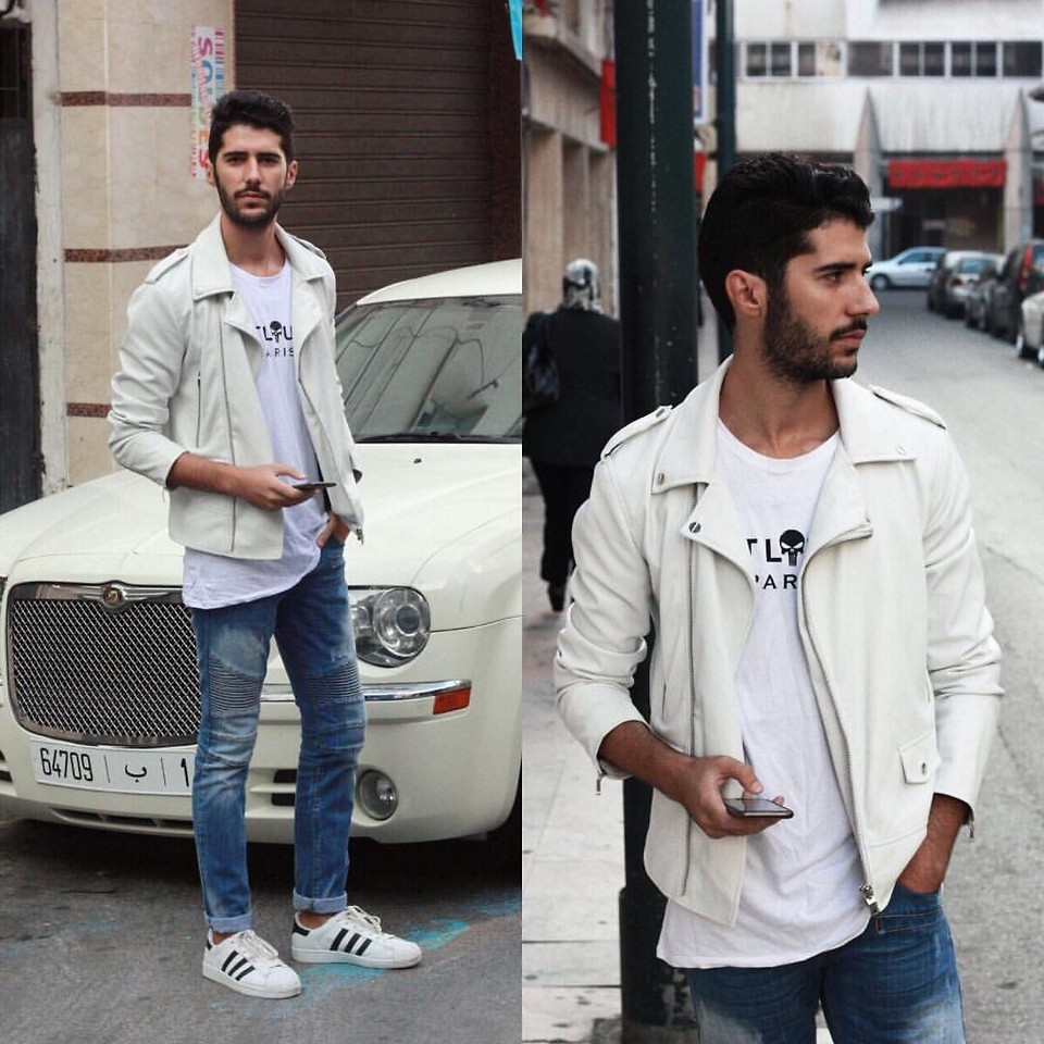 adidas superstar white with jeans men