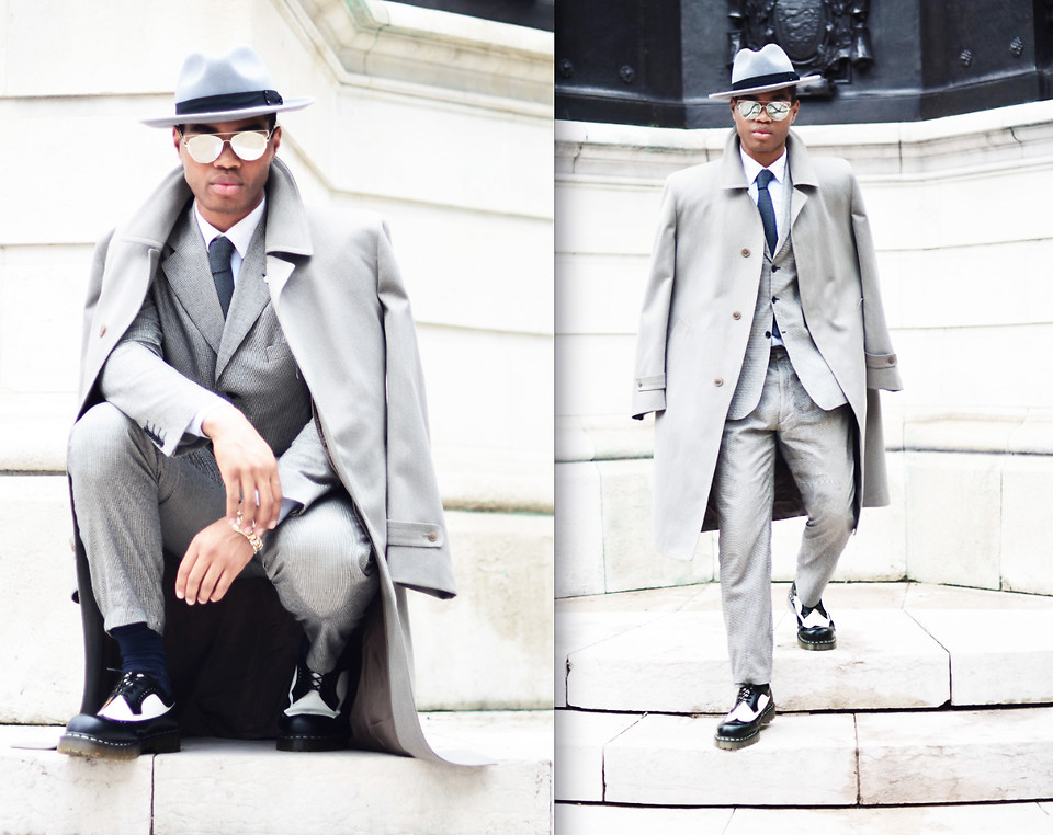 Omiri Thomas Marks Spencer Hat Massimo Dutti Coat Hardy Amies Tie T M Lewin Shirt Austin Reed Suit Dr Martens Shoes Reflection Lookbook