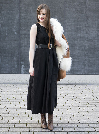 long dress and boots