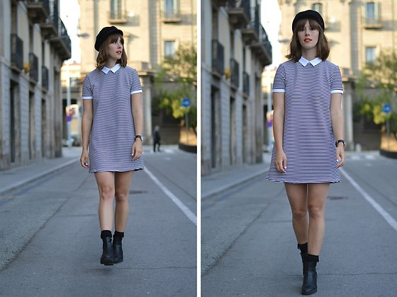a line dress with boots