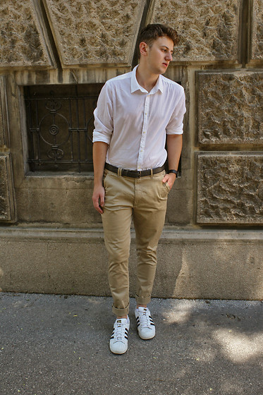 White shirt with beige pants