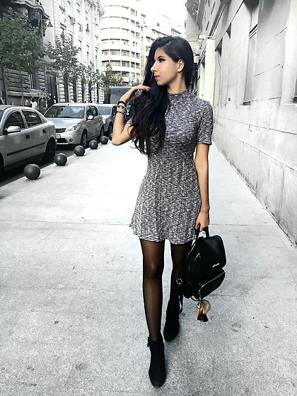 grey dress with boots