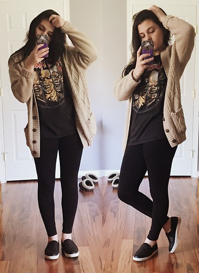 Pertenecer a Prescripción Si  Haley - Leggings, Hot Topic Iron Maiden Band Tee, Cardigan, Steve Madden  Flats - Lazy HMart Spree | LOOKBOOK