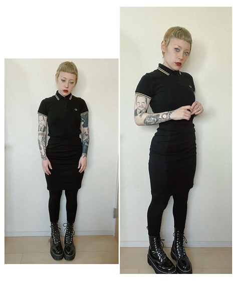 Marie Theres - Fred Perry Shirt, Fred Perry Shirt, Dr. Martens Aggy Docs - Skinhead Girl