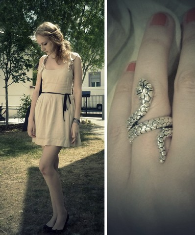 "Marie-Louise H. - Beige Dress, Black Flats, Slytherin Ring - ""All the world is made of faith, and trust, and pixie dust."""