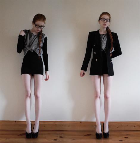 Tahti Syrjala - Vintage Blazer, American Apparel Oversized T Shirt, American Apparel Bodycon Dress - 16.07 ; Vintage Blazer