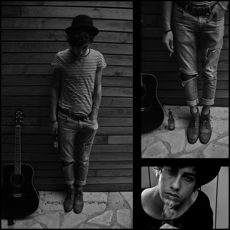 Loris P. - Topman Stripes Tee, Zara Blue Jean, Asos Leather Boots, Bowler Hat, Zara Leather Belt - Smoking My Last Cigarette.