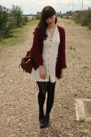 Sarah B - Burgundy Cardigan, Spotted Dress, Black Lace Up Boots - Ready to start