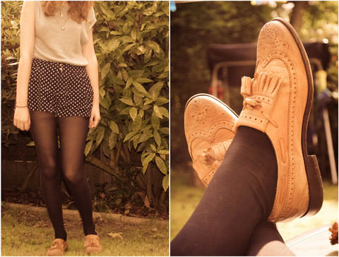 Bethany Charles - Knitted Top, Polka Dot Shorts, Brogues - Hand me your trousers, you got holes in your knees.