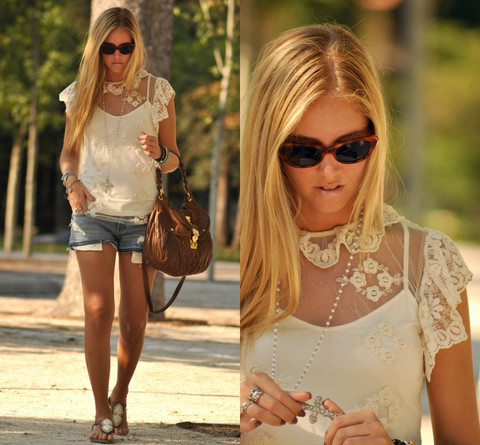 Chiara Ferragni - Zara Lace Shirt, Miu Coffeer Bag - Lace in Madrid