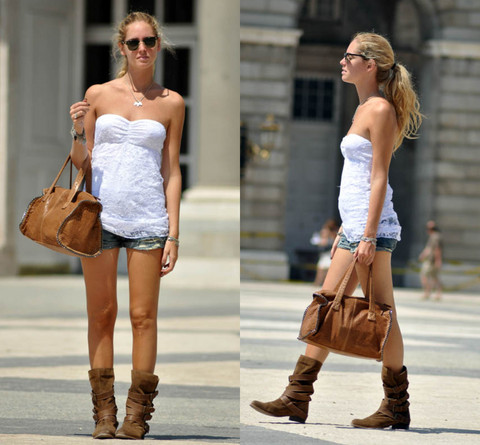 Chiara Ferragni - Zara Leather Bag - Lace top, boots and Zara leather bag, what else? :D