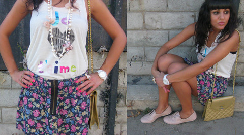 Sandra Shamy - Cotton Candy Flower Skirt, Chanel Vintage Purse, Je T'aime Top - Www.lovemadamechic.com