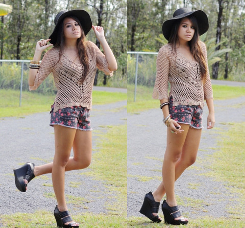 Alyssa J. - Ross Floppy Hat, Goodwill Knit Blouse, Ross Denim Floral, Bcbg Chunky Wedges - Knits + floral shorts