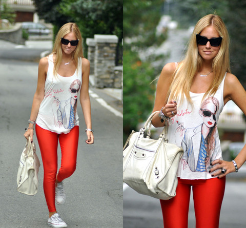 Chiara Ferragni - American Apparel Red Leggings - Red shiny leggings