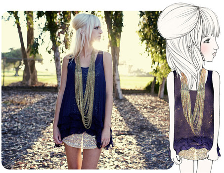 Kelli Murray Larson - Anthropologie Necklace, Free People Slip, Anthropologie Dress - SEE HOW THEY SHINE