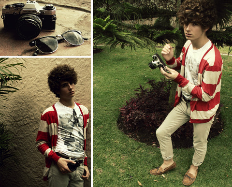 Martín Maldonado - American Apparel Striped Cardigan, Urban Outfitters Chocolate Moccasins, Heavy Rotations James Dean Tee, Olympus Om 10 - James Dean inspiration.