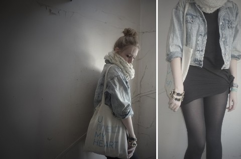 Marie-Louise H. - H&M White Scarf, Second Hand Store In Paris Denim Jacket, Melt! Festival Bag - Youmeltmyheart