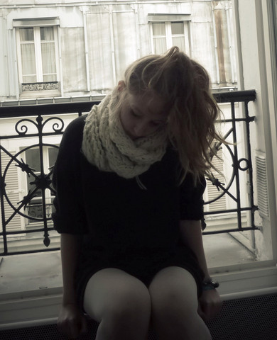 Marie-Louise H. - White Scarf, Grey Xxl Pullover, White Tights - Somewhere only we know