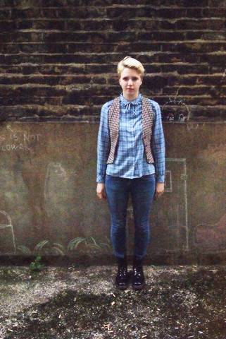 Hannah N - Topshop Jeans, Dr. Martens Boots, Vintage Blouse, Vintage Wasitcoat - Check mate