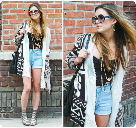 Laura Ellner - Chanel Sunglasses, Levi's® Cutoffs, Vintage Sweater, Lf Lace Jacket, Asos Cutout Bodysuit, Alexander Wang Diego Bag, Deena & Ozzy Strappy Sandals - Brooklyn in the house