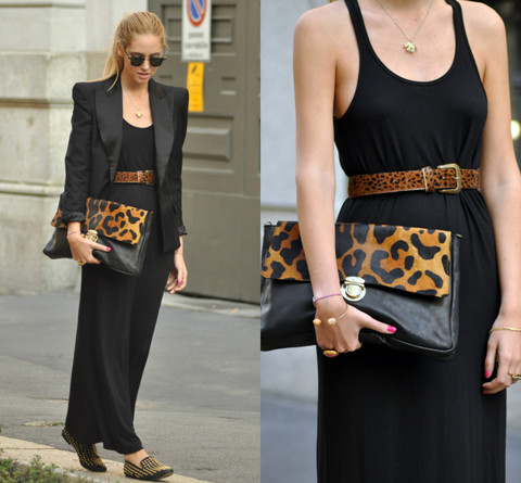 Chiara Ferragni - Su Shi Bag - Long black dress and leopard prints
