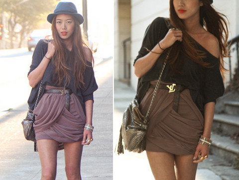 Aimee Song - Anarchy Street Draped Skirt, Random Oversized Boxy Knit Top, Louis Vuitton Belt, Botkier Metal Snakeskin Ava Bag - There is a Reason for Time