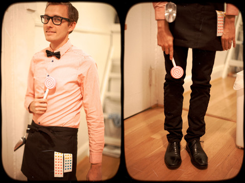 Stay Classic - H&M Striped Shirt, Bdg Bowtie, Apron, Candy Scooper, Cole Haan Dress Shoes, Nerd Glasses - Halloween Candyman
