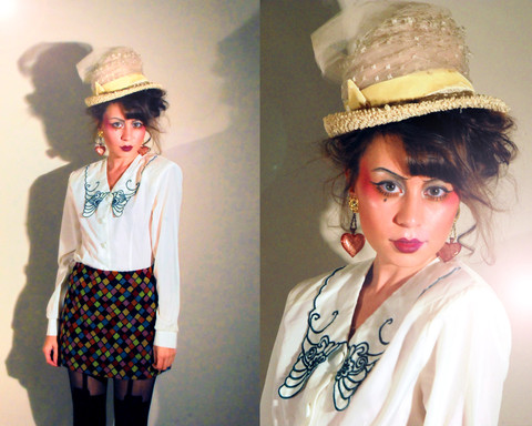 Whitney S. Williams - Vintage Earrings, Vintage Blouse, Vintage Hat, Vintage Skirt, Henry Holland Tights, Glittery Platform Boots (Not Pictured) - Happy Halloween