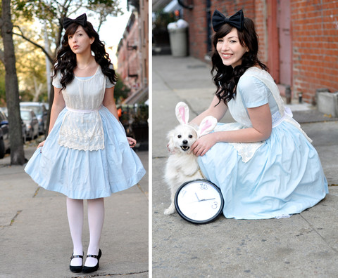 Keiko Lynn - Vintage Dress, Vintage Apron, Handmade Bow - Happy Halloween! Love, Alice and the little white rabbit.