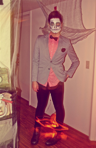 Dolfin - Bdg Button Up Shirt, H&M Blazer, American Apparel Textured Leggings - Dia De Los Muertos