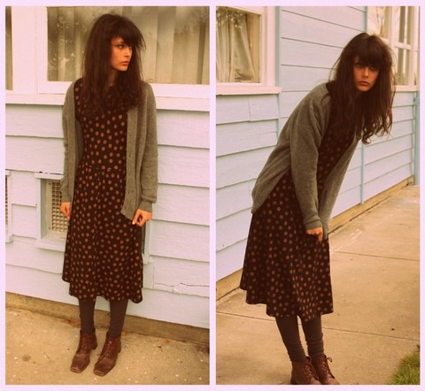 Cloe Isabelle - Vintage Dress, H&M Socks, Thrifted Boots, Handme Down Sweater - Rona