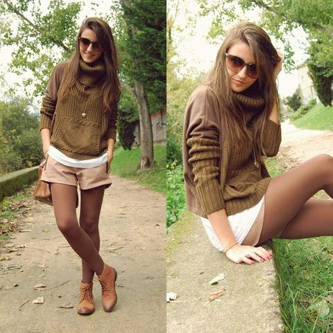 Alexandra Per - Pull & Bear Sweater, Queens Wardrobe Shorts, Zara Boots, Bimba & Lola Bag, Marc By Jacobs Sunglasses - Brown over brown
