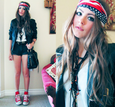 Bebe Zeva - American Flag Bandana, Dreamcatcher, Converse Red High Tops - STAR SPANGLED