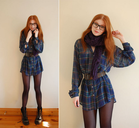 Tahti Syrjala - American Apparel Plaid Shirt, Primark Scarf, Vintage Belt, Dr. Martens Dr - 08.11 ; Blue Plaid