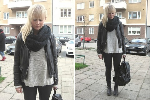 Sofie Ekstrom - H&M Knitted Sweater, Bianco Backpack - Me today