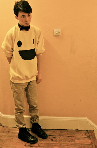 Daniel S - Bow Tie, Jumper, Chinos, Docs, Light - Smile or die