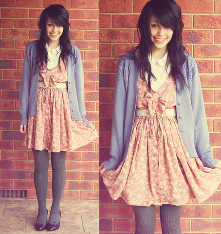 Connie Cao - Blouse Dress Cardi Vintage, Columbine Tights - WALLFLOWER