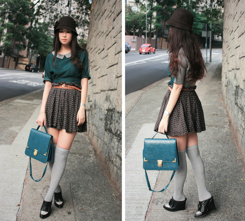 Mayo Wo - Laurustinus Dark Brown Cloche Hat, Laurustinus Dark Green Dress With Peter Pan Collar, Pull & Bear Brown Skirt, Laurustinus Teal Bag, Alexander Wang Wedges - Peter pan complex