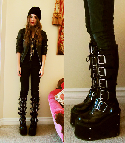 Bebe Zeva - Savers Beanie, Diesel Leather Jacket, Hot Topic 6 Inch Platform Combat Boots - I CAN TAKE THE TROUBLE