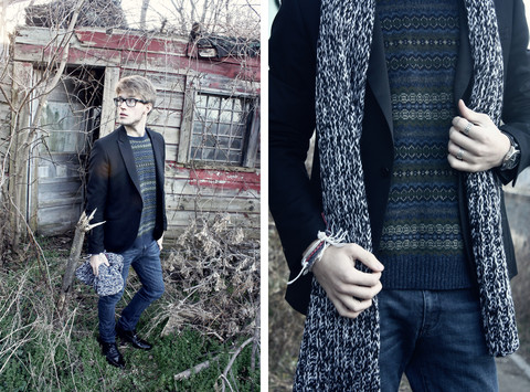Dorian Sanders - Louis Vuitton Jacket, H&M Scarf, Gant Rugger Sweater - Reclaiming Nature