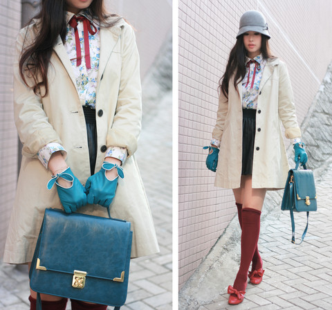 Mayo Wo - Tie Rack Cyan Leather Gloves, Chambre De Charme Beige Coat, Windmill Floral Shirt, Zara Leather Skirt, Laurustinus Teal Bag - My first leather gloves