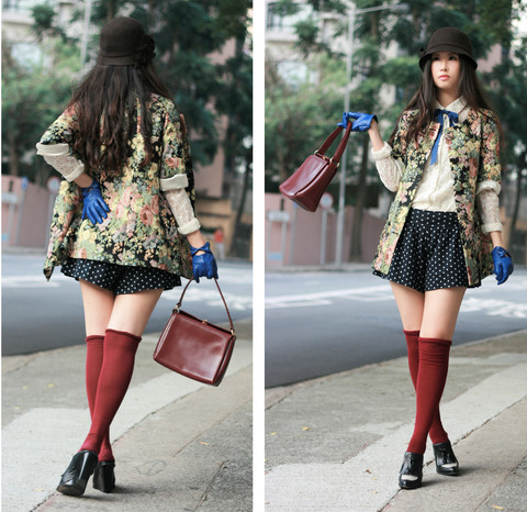 Mayo Wo - Lagunamoon Floral Coat, Tie Rack Blue Gloves With Bows, Alexander Wang Wedges - Granny or preppy