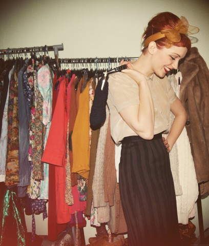 Kerry Lockwood - Topshop Camel Silk Scallop Blouse, Beyond Retro Vintage Mustard Head Scarf, The Barn Vintage Stripe Wool Pencil Skirt, Absolute Vintage Crochet Handbag, All My Other Clothes! - I Got It Bad and That Ain't Good...