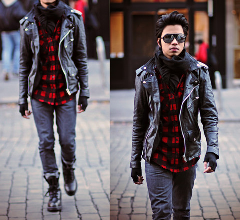 Denny Balmaceda - H&M Black Scarf By, Viparo Leather Jacket By, Levi's® Jeans By Levi's, Thrift Combat Boots, H&M Flannel Shirt By, Aldo Stunner Shades -  I took cutie for a ride in my Death Cab...