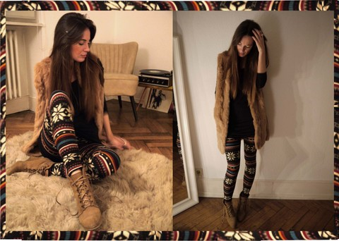 ModeJunkies . - Patrizia Pepe Fur Vest, American Vintage Basic Top, Boutique Belgique Leggings, Zara Wedges - Moment of Silence...