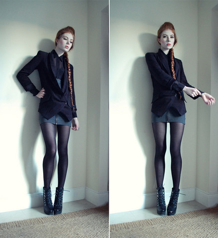 Tahti Syrjala - Topshop Jacket, American Apparel Shirt, Topshop Skirt, Topshop Boots - 20.12 ; Shortened Sleeves