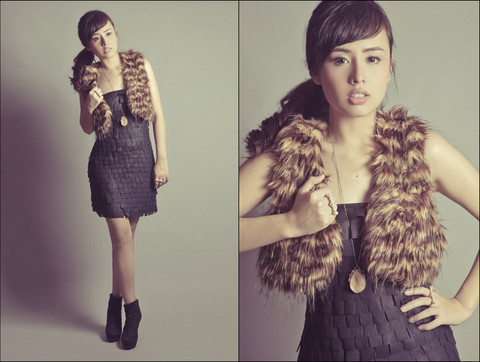 Dominique Marie Tiu - Forever 21 Fur Vest, Forever 21 Necklace With Stone Pendant, Forever 21 Leather Dress, Forever 21 Black Suede Wedges - Have a Furry Happy Christmas