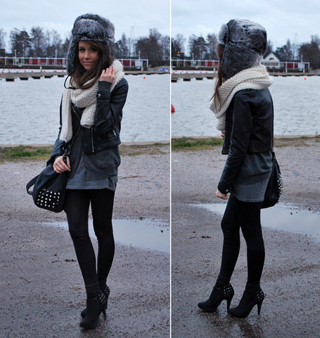 Marianna M - Zara Fur Hat, H&M Biker Leather Jacket, Aleksi13 Heels - Live like you're dying and never stop trying