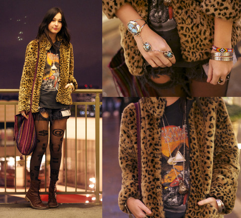 BRIT N. - From Mexico Turquoise Slave Bracelet, Thrifted Leopard Coat, Vintage Harley Davidson Tshirt, Vintage Destroyed Denim Shorts, American Apparel Tights - AT THE GROVE